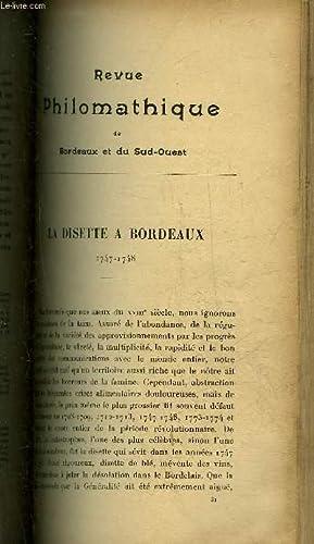 REVUE PHILOMATHIQUE DE BORDEAUX ET DU SUD OUEST - NOVEMBRE 1904 - la disette a Bordeaux 1747-1748 ...