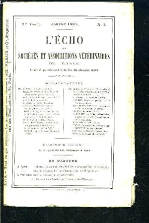 L ECHO DES SOCIETES- N°1- JAN 1881- 3ème année- ET ASSOCIATIONS VETERINAIRES DE FRANCE: COLLECTIF