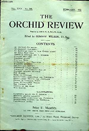 THE ORCHID REVIEW N°344 FEBRUARY 1922 - An Amateur's Collection .An Amateur's Experience .An ...