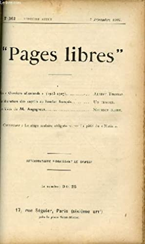 """PAGES LIBRES"""" N°362 / SEPTIEME ANNEE / 7 DECEMBRE 1907 - LES OUVRIERS ALLEMANDS (1903-1907) PAR..."""