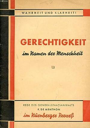 FRANKREICH VERLANGT GERECHTIGKEIT IN NAMEN DER MANSCHHEIT: MENTHON FRANCOIS DE