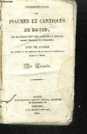 INTERPRETATION DES PSAUMES ET CANTIQUES DE DAVID,QUI: COCQUELIN