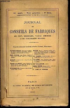 JOURNAL DES CONSEILS DE FABRIQUES - 15eme année - TOME 15eme - 3e SERIE -51 eme VOLUME DE LA...