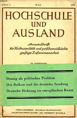 HOCHSCHULE UND AUSLAND, JAHRG. 13, HEFT 5,: COLLECTIF