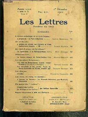 LES LETTRES - N° 12 - TOME II - 1er DECEMBRE 1922 - 4e SERIE - l'action catholique et les ...