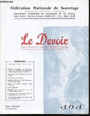 LE DEVOIR N°201 - ORGANE OFFICIEL DE LA FEDERATION NATIONALE DE SAUVETAGE (LE SPORT QUI SAUVE) ...