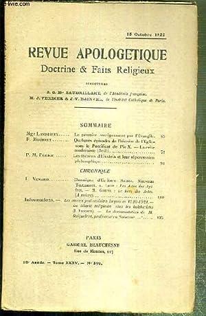 REVUE D'APOLOGETIQUE - DOCTRINE & FAIT RELIGIEUX - N° 395 - 15 OCTOBRE 1922 - le ...