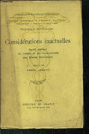 CONSIDERATIONS INACTUELLES - DAVID STRAUSS DE L'UNITE ET DES INCONVENIENTS DES ETUDES ...