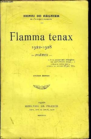 FLAMMA TENAX 1922-1928: DE REGNIER HENRI