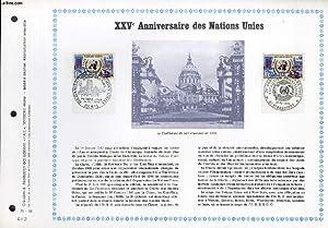 FEUILLET ARTISTIQUE PHILATELIQUE - PAC - 70 - 32 - 25° ANNIVERSAIRE DES NATIONS UNIES: ...