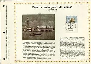 FEUILLET ARTISTIQUE PHILATELIQUE - PAC - 71 - 18 - POUR LA SAUVEGARDE DE VENISE EUROPA 71: ...