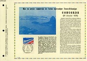 FEUILLET ARTISTIQUE PHILATELIQUE - PAC - 76 - 01 - CONCORDE (21 JANVIER 1976) - MISE EN SERVICE ...