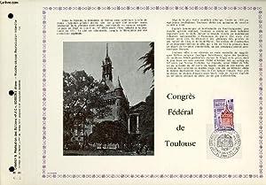 FEUILLET ARTISTIQUE PHILATELIQUE - PAC - 73 - 25 - CONGRES FEDERAL DE TOULOUSE: COLLECTIF