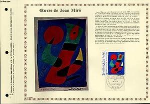 FEUILLET ARTISTIQUE PHILATELIQUE - PAC - 74 - 23 - OEUVRE DE JOAN MIRO: COLLECTIF