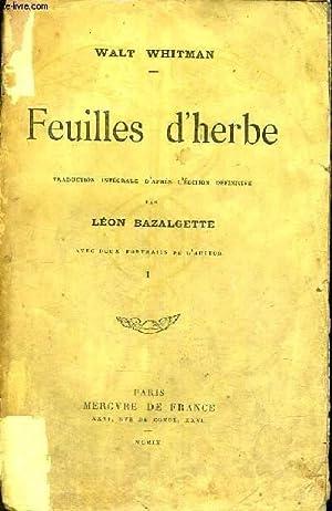 FEUILLES D'HERBE - EXEMPLAIRE N°902: WHITMAN WALT