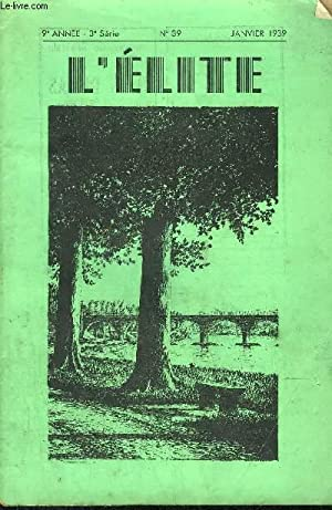 REVUE MENSUELLE ILLUSTREE L'ELITE N°39 - JANVIER 1939 - THEOPHILE: TRANNOY P.