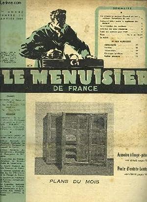 REVUE LE MENUISIER DE FRANCE N°73 - JANVIER 1954 - plans du mois : Armoire à ...