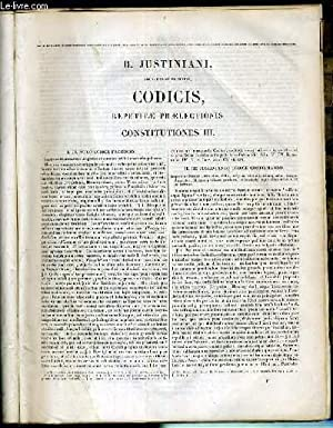 SACRATISSIMI PRINCIPIS, CODICIS, REPETITAE PREALECTIONIS CONSTITUTIONES III: JUSTINIANI D.