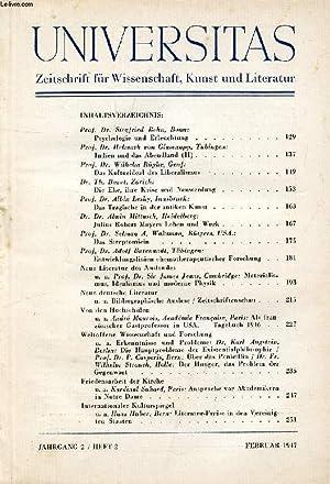 UNIVERSITAS, JAHRG. 2, HEFT 2, FEB. 1947, ZEITSCHRIFT FÜR WISSENSCHAFT, KUNST UND LITERATUR (...
