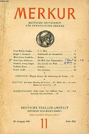 MERKUR, III. JAHRG., ERSTES HEFT, Nr. 11, 1949 (Inhalt: Ernst Robert Curtius, T. S. Eliot. Jü...