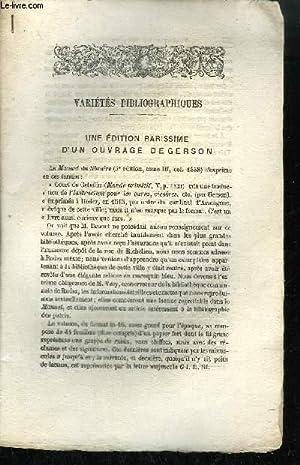 EXTRAIT BULLETIN DU BOUQUINISTE - VARIETE BIBLIOGRAPHIQUES - UNE EDITION RARISSIME D'UN ...