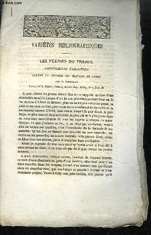 EXTRAIT BULLETIN DU BOUQUINISTE - VARIETE BIBLIOGRAPHIQUES - LES FEERIES DU TRAVAIL CONFERENCES ...