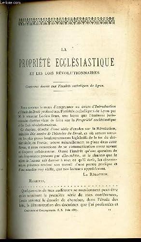 LA PROPRIETE ECCLESIASTIQUE ET LES LOIS REVOLTIONNAIRES - Conference donnée aux facult&...