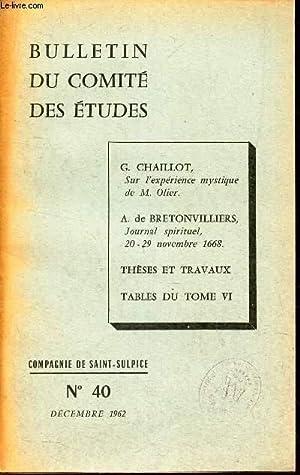 BULLETIN DU COMITE DES ETUDES - N°40 - Decembre 1962 / Sur l'experience mystique deM....