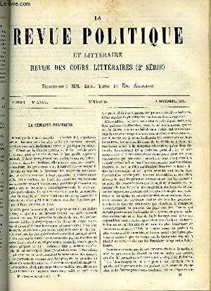 LA REVUE POLITIQUE ET LITTERAIRE 3e ANNEE - 1er SEMESTRE N°23 - ETUDES POLITIQUE - PHILOSOPHIE DES ...