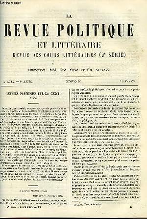 LA REVUE POLITIQUE ET LITTERAIRE 6e ANNEE - 2e SEMESTRE N°49 - LETTRES POSTHUMES SUR LA GRECE ...
