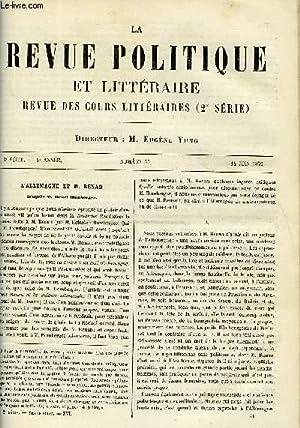 LA REVUE POLITIQUE ET LITTERAIRE 8e ANNEE - 2e SEMESTRE N°50 - L'ALLEMAGNE ET M. RENAN PAR...
