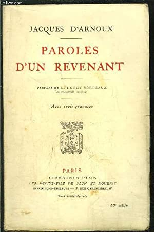 PAROLES D'UN REVENANT: ARNOUX Jacques d'