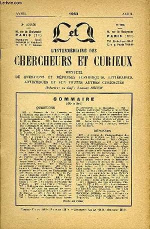 L'INTERMEDIAIRE DES CHERCHEURS ET CURIEUX N° 145 - QUESTIONS 289:Romans de La Varende —&...