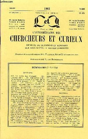 L'INTERMEDIAIRE DES CHERCHEURS ET CURIEUX N° 372: COLLECTIF