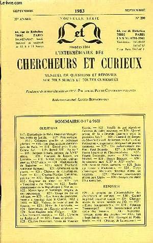 L'INTERMEDIAIRE DES CHERCHEURS ET CURIEUX N° 390: COLLECTIF