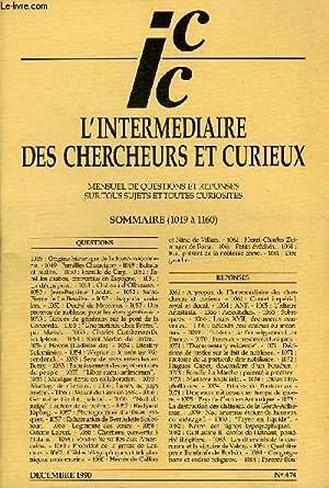 L'INTERMEDIAIRE DES CHERCHEURS ET CURIEUX N° 474: COLLECTIF