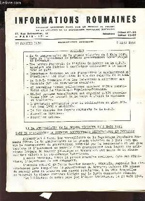 INFORMATIONS ROUMAINES -27 fevrier 1950 - 6 mars 1950 / Le 5e anniversaire de la grande ...