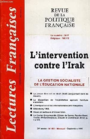 LECTURES FRANCAISES N° 401 - L'intervention contre: COLLECTIF