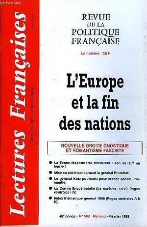 LECTURES FRANCAISES N° 502 - L'EUROPE ET: COLLECTIF