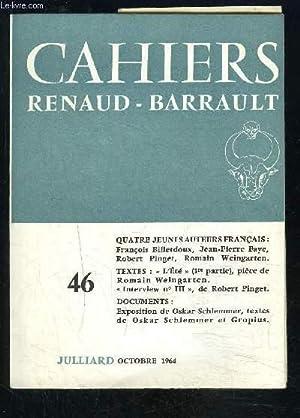 QUATRE JEUNES AUTEURS FRANCAIS- CAHIERS RENAUD BARRAULT, FRANÇOIS BILLETDOUX, JEAN-PIERRE ...