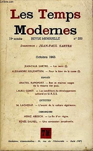 LES TEMPS MODERNES N° 209 - JEAN-PAUL SARTRE. - Les mots (I).ALEXANDRE SOLJENITSYN. - Pour le ...