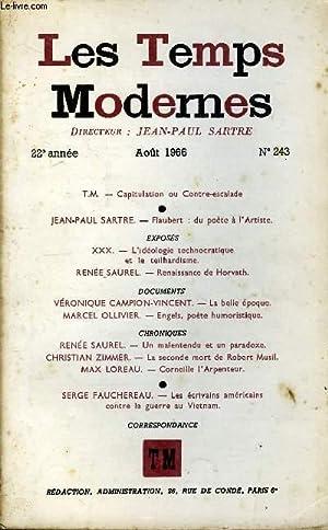 LES TEMPS MODERNES N° 243 - T.M.   Capitulation ou Contre-escaladeJEAN-PAUL SARTRE.   Flaubert : du...