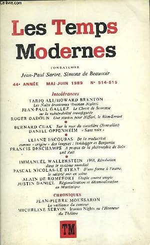 LES TEMPS MODERNES N° 514-515 - TARIQ: ALI TARIQ, BRENTON