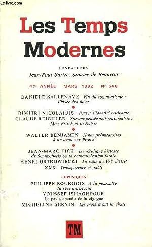 LES TEMPS MODERNES N° 548 - DANIELE: SALLENAVE DANIELLE, NICOLAIDIS