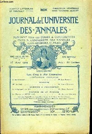 JOURNAL DE L'UNIVERSITE DES ANNALES ANNEE SCOLAIRE 1908-1909 N°9 - LITTERATURE FRAN&Ccedil...