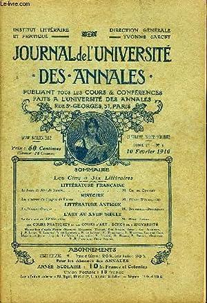 JOURNAL DE L'UNIVERSITE DES ANNALES QUATRIEME ANNEE SCOLAIRE N°5 - LITTÉRATURE FRAN...