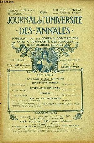 JOURNAL DE L'UNIVERSITE DES ANNALES QUATRIEME ANNEE SCOLAIRE N°9 - LITTÉRATURE ...