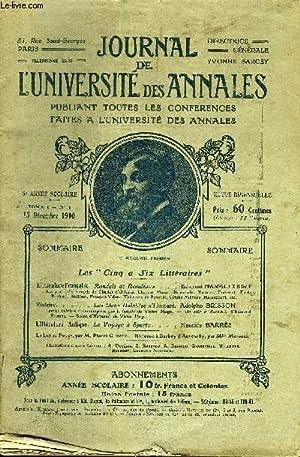 JOURNAL DE L'UNIVERSITE DES ANNALES 5e ANNEE SCOLAIRE N°1 - LiitératureFranç...