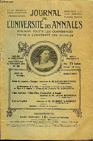 JOURNAL DE L'UNIVERSITE DES ANNALES 13e ANNEE SCOLAIRE N°23 - Autour de Lamartine : ...