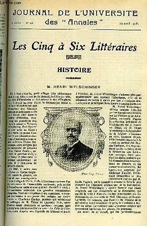 JOURNAL DE L'UNIVERSITE DES ANNALES ANNEE SCOLAIRE 1907-1908 N°16 - Histoire : M. Henri ...